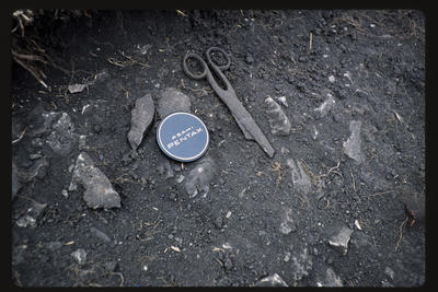 35mm Slide: Scissors, Fyffe Site Archaeological Excavation (S49/46)