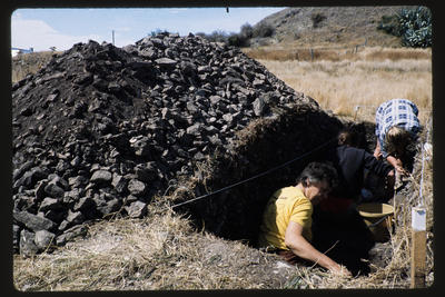 35mm Slide: Sally Burrage, Fyffe Site Archaeological Excavation (S49/46)