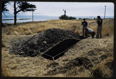 35mm Slide: Josie Lang and John Palmer, Fyffe Site Archaeological Excavation (S49/46)