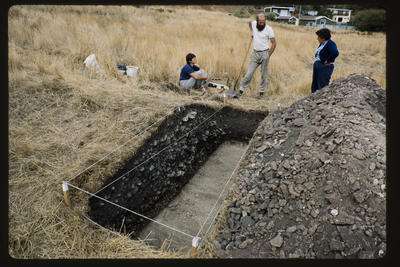 35mm Slide: Josie Lang, Barry Dunnet and Leith Newell, Fyffe Site Archaeological Excavation (S49/46)
