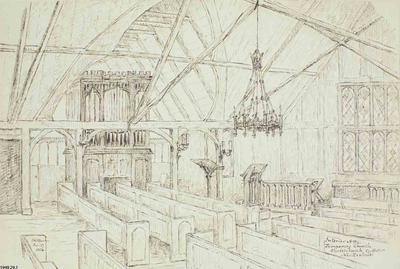 Sketch: Interior of the Temporary Church; 27 Sep 1854; 1949.29.1