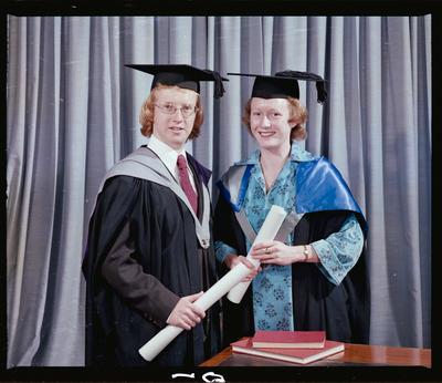 Negative: Mr Chalk and Miss Quinn Graduates