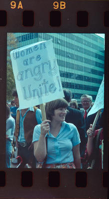 Negative: Woman Protesting With Sign