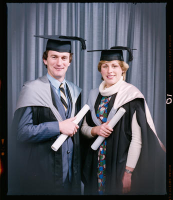 Negative: Mr Stephens and Unnamed Woman Graduates