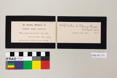 Card: Memorial card for Thomas John Bazely 1804 - 1886