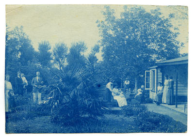 Photograph, Black and White: Lovell-Smith family group in front garden at Westcote1912