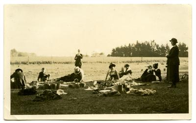 Photograph, Black and White: Lovell-Smith family group on a picnic.
