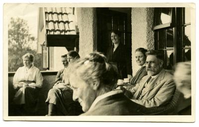 Photograph, Black and White:  Lovell-Smith family group on the balcony at Midway ,c1921