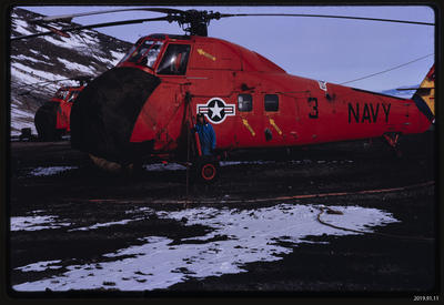 Slide: US Navy Helicopter, McMurdo Station; 1968; 2019.91.11