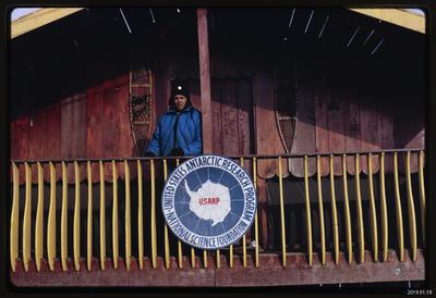 Slide: Bryan Register outside a hut, Antarctica, 1968