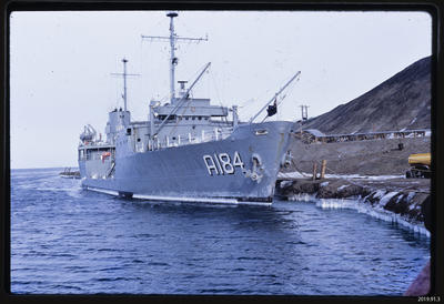 Slide: US Navy ship at McMurdo Station; 1968; 2019.91.3
