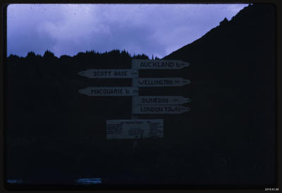 Slide: Campbell Island Sign, 1969