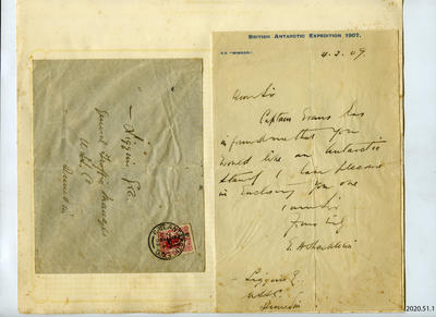Letter and envelope: Shackleton