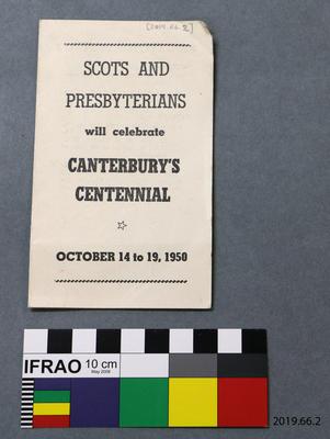 Programme: Scots and Presbyterians will Celebrate Canterbury's Centennial