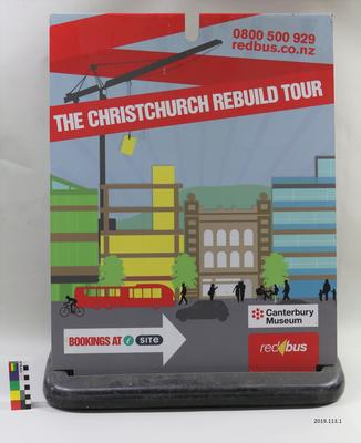 Sign: Red Bus Rebuild Christchurch Tour
