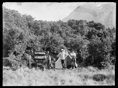 Glass Plate Negative: Two men, trap and tent