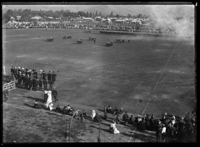 Glass Plate Negative: Canterbury Yeomanry Cavalry trainning at Lancaster Park