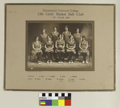"Photograph: Christchurch Technical College Old Girls' Basket Ball Club ""B"" Team, 1929; 1929; 2020.7.56"