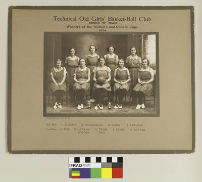"""Photograph: Christchurch Technical College Old Girls' Basket Ball Club Senior """"B"""" Team, Winners of the Nicholl's and Referee Cups, 1934; 1934; 2020.7.57"""
