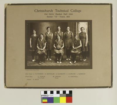 "Photograph:  Christchurch Technical College Old Girls' Basket Ball Club Senior ""B"" Team, 1931; 1931; 2020.7.58"