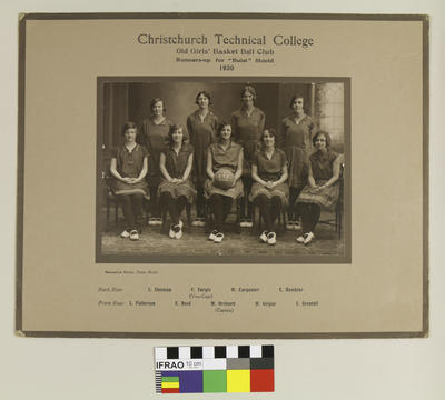 """Photograph: Christchurch Technical College Old Girls' Basket Ball Club, Runners Up for """"Buist"""" Shield, 1930; 1930; 2020.7.59"""