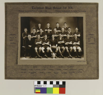 Photograph: Technical College Technical High School 1st XV, Winners Secondary School Second Grade and Winners South Island Technical Tournament, 1929; 1929; 2020.7.63