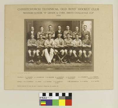 """Photograph: Christchurch Technical College Old Boys' Hockey Club, Winners Junior """"B"""" Grade and Cyril Smith Challenge Cup, 1939; 1939; 2020.7.64"""