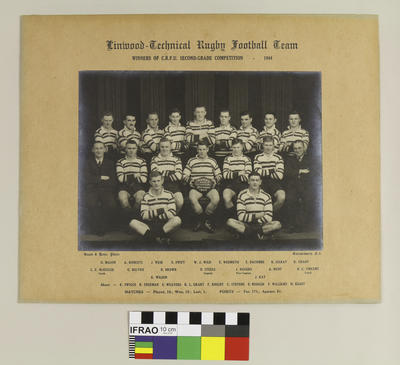 Photograph: Linwood Technical Rugby Football Team, Winners of the Canterbury Rugby Football Union Second Grade Competition, 1944