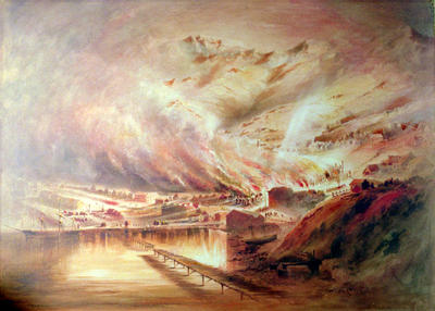 Painting: The Great Fire in Lyttelton 25th October 1870