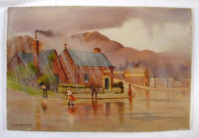 Oil Painting: Caught in the Rain at Lyttelton