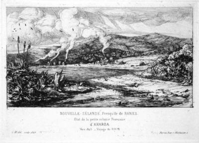 Etching: Nouvelle Zélande/Presqu'ile de Banks/Etat de la petite colonie Francaise/d' Akaroa