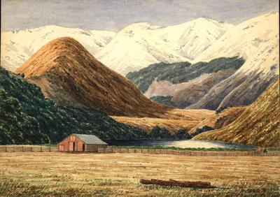 Painting: Woolshed and Lake Letitia, Mt White Station