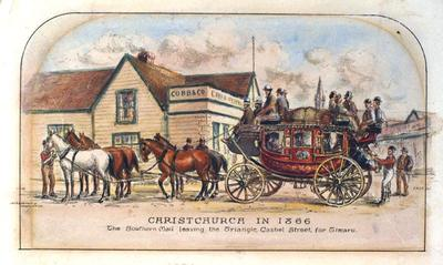 Lithograph: Christchurch in 1866; The Southern Mail leaving the Triangle, Cashel Street, for Timaru