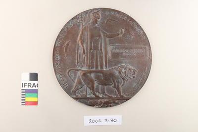 "Plaque: ""Next of Kin"" Memorial Plaque 1914-1920; Circa 1920; 2006.3.30"