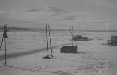 Photograph: Mount Erebus with Ski Poles