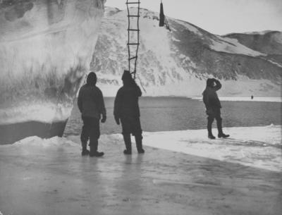 Photograph: Three Men and the Bow of the Terra Nova
