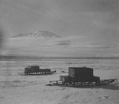 Photograph: Mount Erebus with Sleds