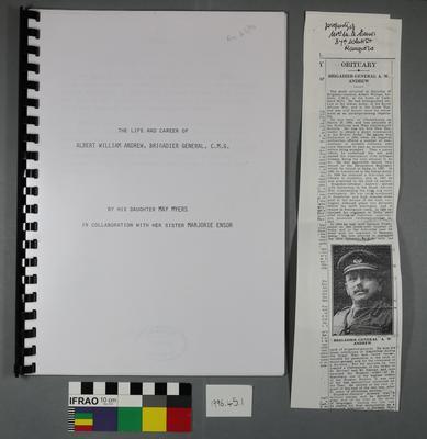 The life and career of Albert William Andrew, Brigadier General, C.M.G.