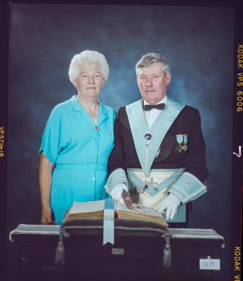 Negative: Unnamed Man and Woman Freemason Portrait