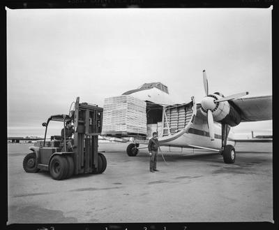 Negative: Forklift Loading Plane With Yoplait