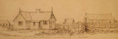 Sketch: Parsonage and Church; 18 Feb 1852; 1949.29.11