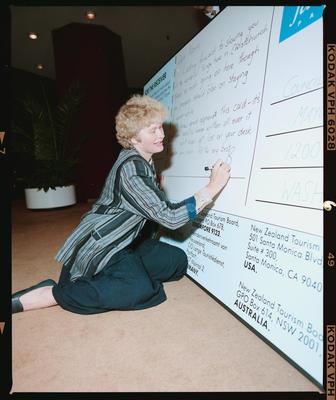 Negative: Vicki Buck Signing Giant Postcard