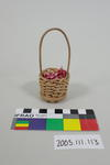 Prop: Cane basket with red and white gingham fabric
