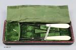 Instruments, Surgical: One box of seventeen surgical instruments divided into three cases lined with green velvet.