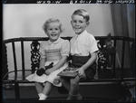 Glass negative: Mr Dickinson, boy and girl