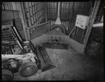 Film negative: Bobcat tractor and furnace, at Dickinson's Metals, Buchanan's Foundry, Maces Road