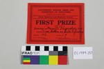 certificate, tapestry prize