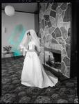 Black and White Film Negative: Keys and Thompson wedding, wedding party of six