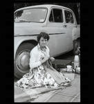 Black and White Film Negative: Lady by car  Picnic