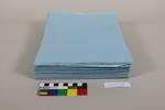 loose sheets of blue paper